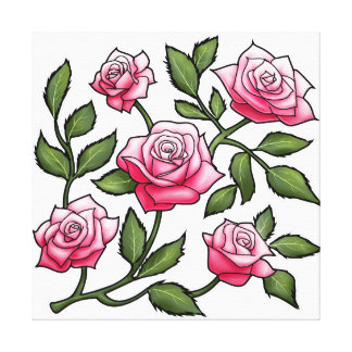 Illustration Pink Rose Floral Canvas Print