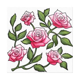 Illustration Pink Rose Floral Canvas Print