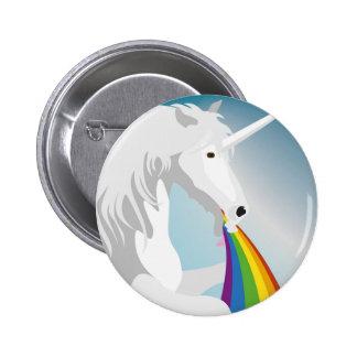 Illustration puking Unicorns Button