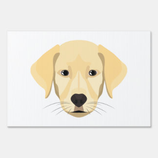 Illustration Puppy Golden Retriver Lawn Sign