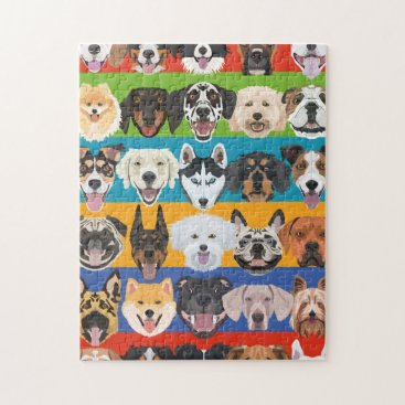 Illustration seamless pattern colorful dogs jigsaw puzzle