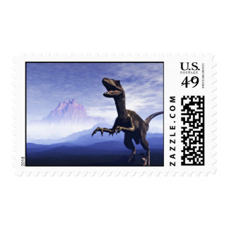 Illustration Showing Mountain And Dinosaur Postage Stamp