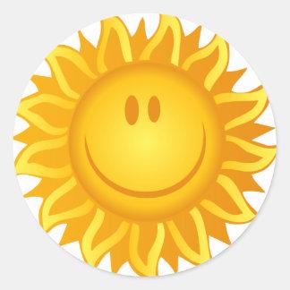 Illustration Smiling Sun Classic Round Sticker