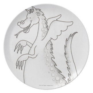 Illustration, smiling winged dragon with forked dinner plate