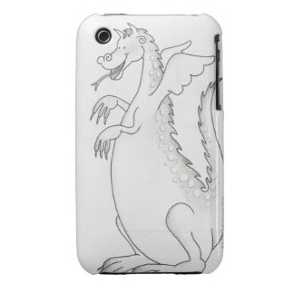 Illustration, smiling winged dragon with forked iPhone 3 Case-Mate case