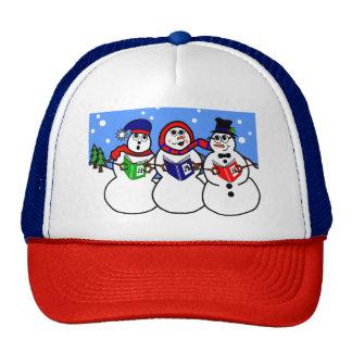 Illustration Snowman Singing Group Hat