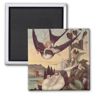 Illustration to 'Thumbkinetta', by Hans Christian 2 Inch Square Magnet