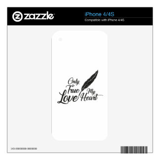 Illustration True Love Feather iPhone 4 Decal