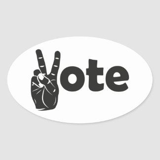 Illustration Vote for Peace Oval Sticker