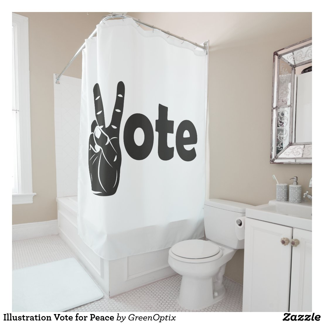 Illustration Vote For Peace Shower Curtain