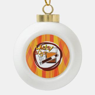 Illustration Wiskey and Cigar Ceramic Ball Christmas Ornament