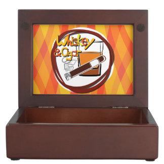 Illustration Wiskey and Cigar Keepsake Box