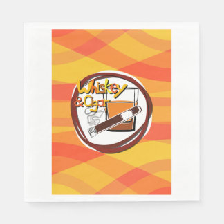 Illustration Wiskey and Cigar Paper Napkin