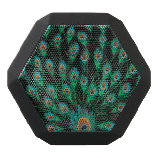 Illustration With Peacock Feathers on Black Black Bluetooth Speaker