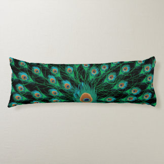 Illustration With Peacock Feathers on Black Body Pillow