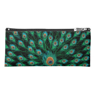 Illustration With Peacock Feathers on Black Pencil Case