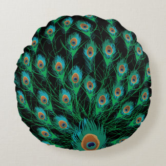 Illustration With Peacock Feathers on Black Round Pillow