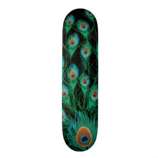Illustration With Peacock Feathers on Black Skateboard Deck