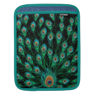 Illustration With Peacock Feathers on Black Sleeve For iPads