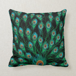 Illustration With Peacock Feathers on Black Throw Pillow