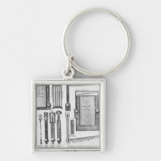 Illustrations of barometers and looking Silver-Colored square keychain