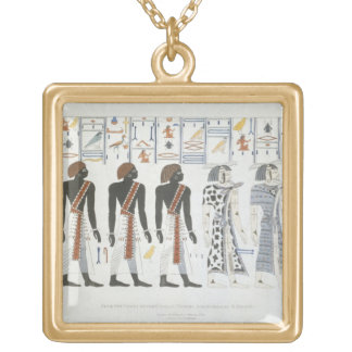 Illustrations of hieroglyphics from the Tombs of t Gold Plated Necklace