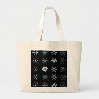 Illustrations of Snowflakes (black) Large Tote Bag