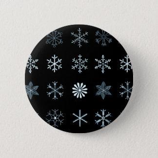 Illustrations of Snowflakes (black) Pinback Button