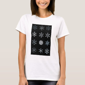 Illustrations of Snowflakes (black) T-Shirt