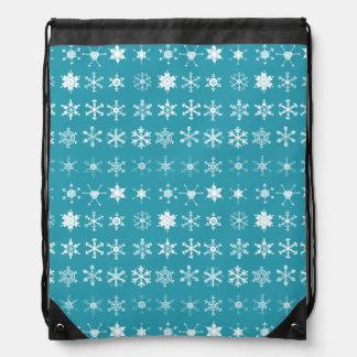 Illustrations of Snowflakes (teal) Drawstring Bag