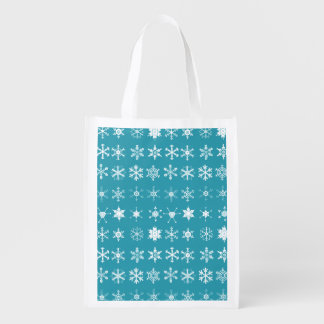 Illustrations of Snowflakes (teal) Grocery Bags