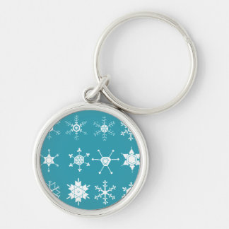 Illustrations of Snowflakes (teal) Keychain