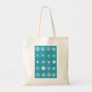 Illustrations of Snowflakes (teal) Tote Bag