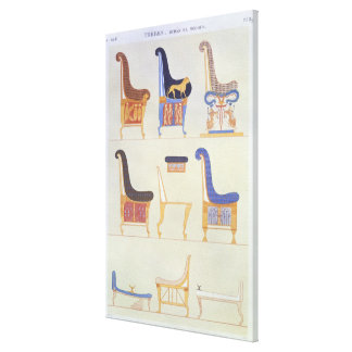 Illustrations of various painted seats and armchai canvas print