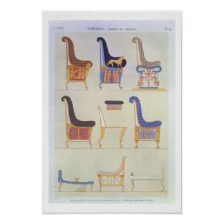 Illustrations of various painted seats and armchai poster