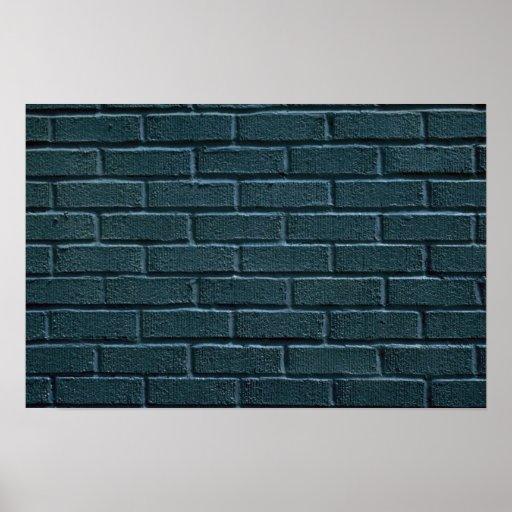 Illustrative Green painted brick wall Poster