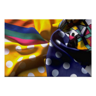 Illustrative Polka dot and striped fabric Poster