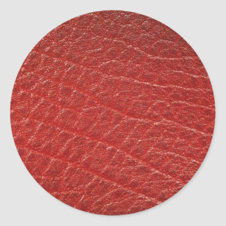 Illustrative Red leather texture Classic Round Sticker