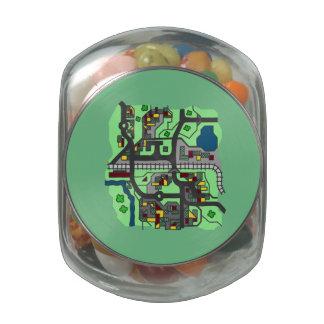 Illustrative Town Map Glass Jars