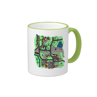 Illustrative Town Map Ringer Mug