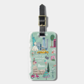 Illustrative travel city map | Luggage Tag