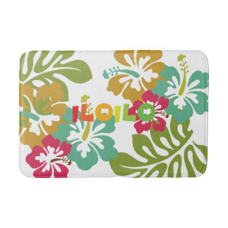Iloilo Philippines on Tropical Hibiscus Flowers Bathroom Mat
