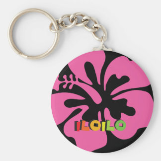 Iloilo Philippines on Tropical Hibiscus Flowers Keychain
