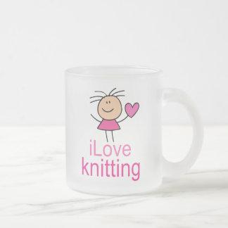 iLove Knitting Gift Frosted Glass Coffee Mug