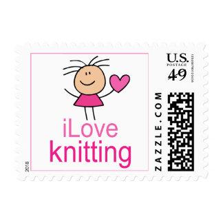 iLove Knitting Gift Postage Stamp