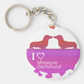 ilove miniature dachshund keychains