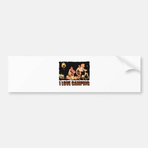 ILoveCamping Camp Fire Bumper Sticker