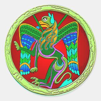 Iluminación céltica - león con alas etiqueta redonda