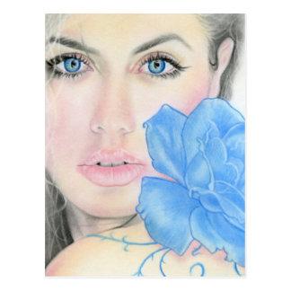 Iluminación color de rosa azul del chica postal