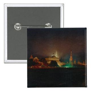 Iluminación del Kremlin, 1883 (aceite en lona) Pin Cuadrada 5 Cm
